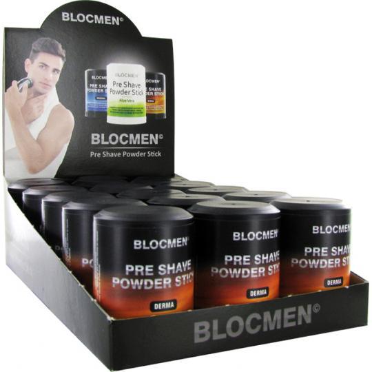 Stick de poudre avant-rasage BLOCMEN© Derma sans parfum ni colorant 15 pcs