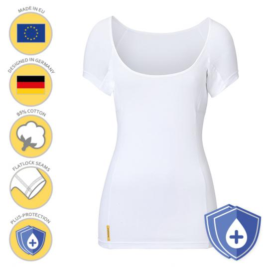 Femme-U-modern-PLUS-shirt MANJANA® avec protection des aisselles particulièrement absorbante pour les femmes