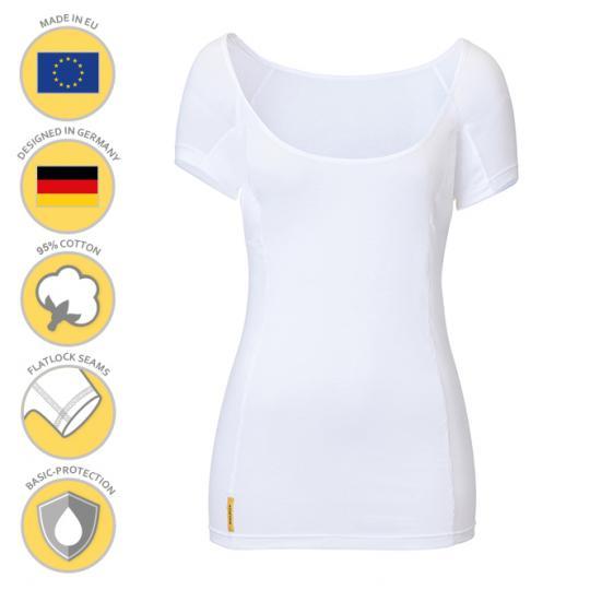 Femme-U-modern-shirt MANJANA® pour les femmes avec une protection axillaire absorbante généreusement intégrée contre les taches de sueur. Fabrication de haute qualité