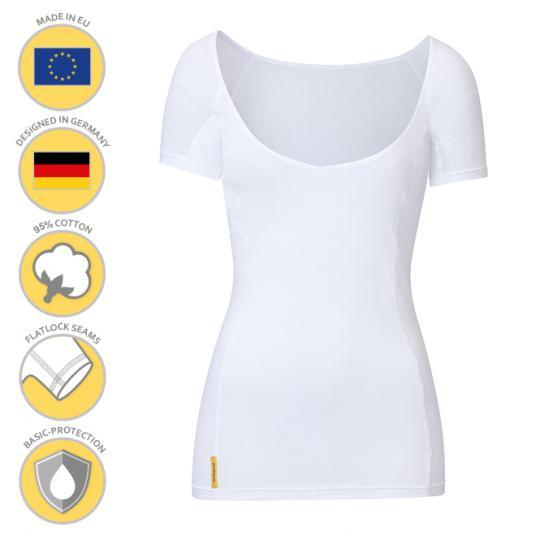 Femme-V-modern-shirt MANJANA® pour les femmes avec une protection axillaire généreusement intégrée et absorbante contre les taches de sueur. Fabrication de haute qualité